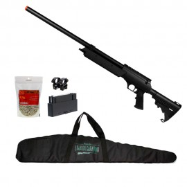 Rifle Airsoft Sniper Well MB06A + Magazine extra + Suporte + Esferas 0,36 + Capa