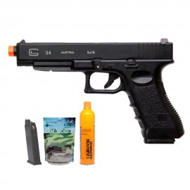Pistola Airsoft Double Bell Glock G34 765 GBB - 6mm + Esferas + Cilindro + Magazine Extra