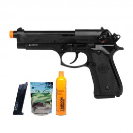 Pistola Airsoft Beretta M92 GBB Double Bell + Kit